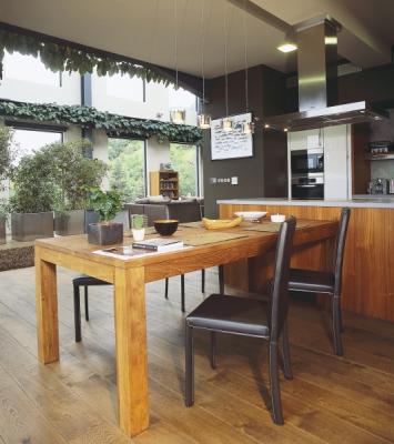 Kuchyň a jídelna je volně propojena s prostorem a dokonalá digestoř je tedy podmínkou