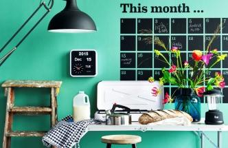 Nástěnné hodiny Mini Flip White a vinylová nálepka This Month