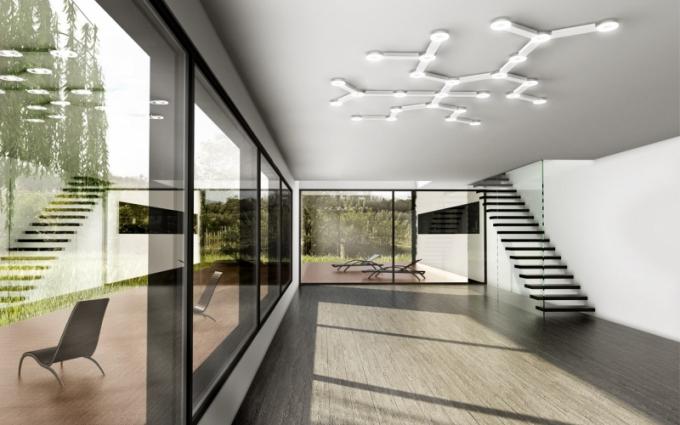 Stropní svítidlo Infinity direkt, akrylátové opálové sklo a bíle lakovaný ocelový plech