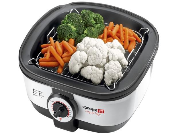Multifunkční nádoba CK 7070 umožňuje běžné vaření, vaření v páře, grilování, smažení, zapékání, přípravu fondue, fritování a ohříván
