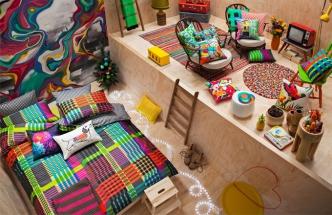 BAREVNÉ PŘEVLEKY Aktuální kolekce bytového textilu KAS Australia se vyznačuje výraznými barvami a grafickými vzory inspirovanými jižní přírodou, www.kasaustralia.com.au