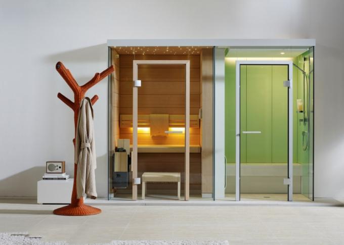 Kombinace luxusní parní kabiny D 12 a saunové kabiny Longue Q