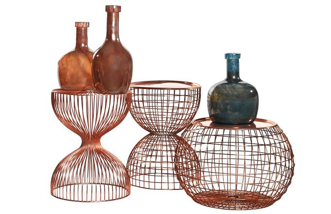 Odkládací stolky, kov/drát v barvě mědi