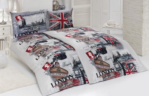 Kolekce LONDON nabízí také vysoce kvalitní bavlněné ložní povlečení se stejným motivem, včetně povlaků na polštářky.