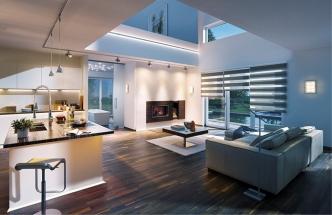 Interiér osvětlený pomocí kolejnicového systému URail se spoty a závěsnými svítidly; na stěnách svítidla Xeta, v horní části na stěně dvojitý T profil Duo, pod kuchyňskou linkou svítidla LinkLight