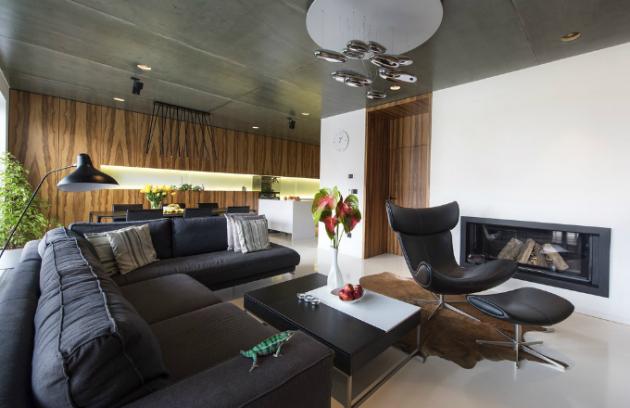 Obývacímu pokoji vévodí stropní svítidlo Artemide Mercury, design Ross Lovegrove. Na pohovce, kterou doplňuje legendární stojací lampa DCW navržená Bernardem Schottlanderem už v roce 1951, pózuje domácí mazlíček chameleon