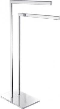 Držák ručníků GLASS, cena 890 Kč/ks Elegantní volně stojící držák naručníky se skleněnou podstavou vbílé barvě ahranatém designu se hodí dokaždé koupelny