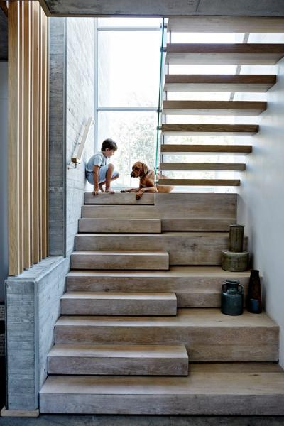 Jonty si hraje s rhodeským ridgebackem Tambem. Zajímavě řešené dubové schodiště vede k ložnicím a dřevo doplňuje nosné železo a sklo