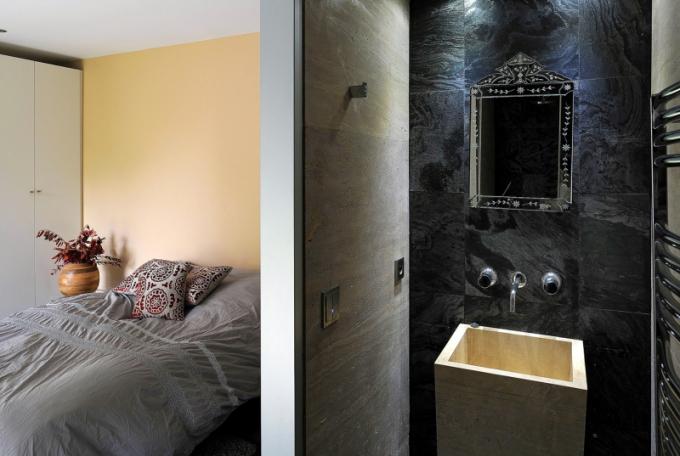 Majitel domu kombinuje leckdy na první pohled nekompatibilní prvky, ale přestože jsou si stylově vzdálené, vytvářejí harmonický celek, tak jak je to vidět i v pokoji pro hosty s přilehlou koupelnou