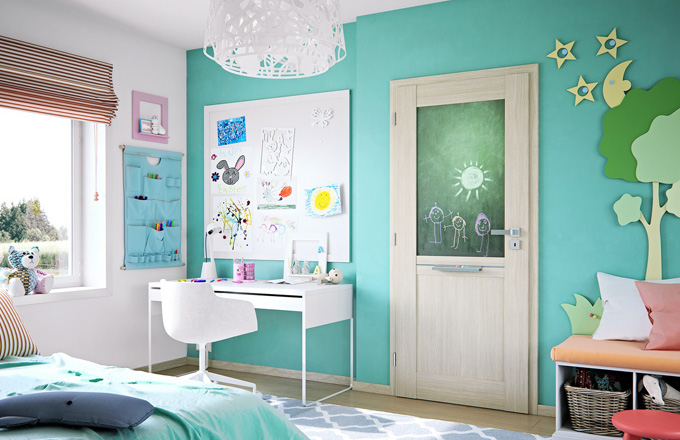 Dveře Vertigo Variant s tabulí s povrchem SOLO 3D v dekoru aragon s oblou hranou, cena od 7 892 Kč s DPH