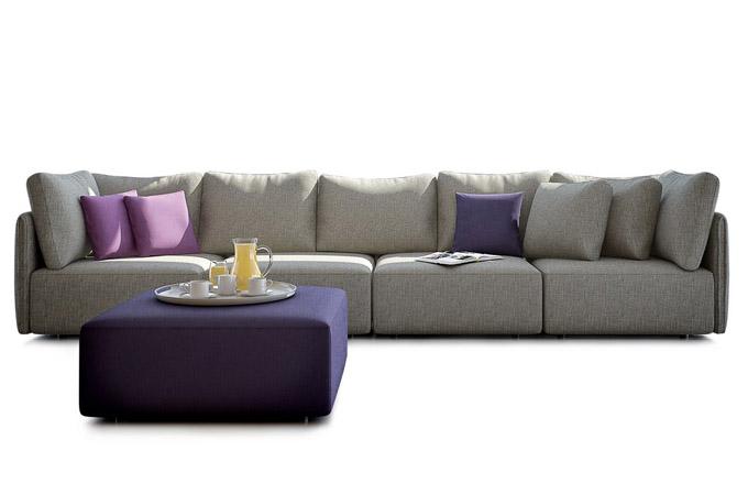 Pohovka Colonn, 3 základní kombinovatelné moduly, 2 přídavné polštáře plněné peřím, lze rozložit na pohodlné lůžko, vyrábí Miotto, cena od 52 699 Kč, www.miotto-design.com