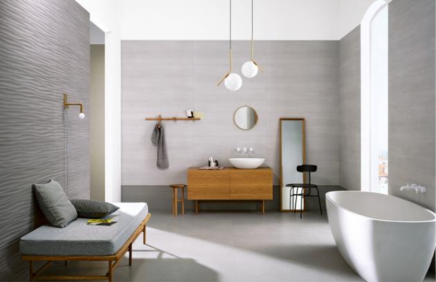 Obklad s betonovým vzhledem z kolekce Materika (Marazzi), rozměry 40 x 120 cm, cena 2 530 Kč/m2, www.koupelny-ptacek.cz