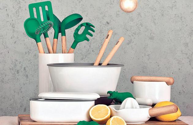 Kuchyňské náčiní by Thomas, dřevo/porcelán/ nerezová ocel, ocenění Red Dot Award 2015, cena od 270 Kč/ks, www.neuetischkultur.de