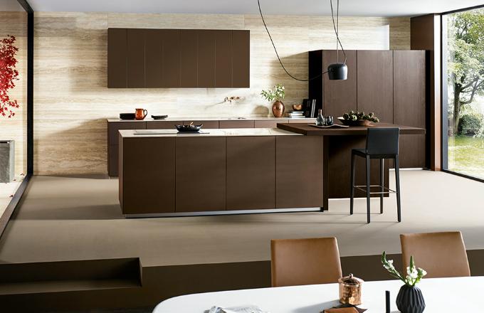 Kuchyně NX 902 Bronzová metalická, sklo matné