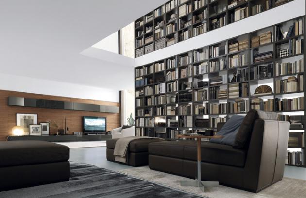 Knihovna Open, jednotlivé moduly jsou dostupné v různých rozměrech, povrchová úprava matný lak, obývací sestava Open, kombinace nástěnných a volně stojících uzavřených polic, povrchová úprava lak ve vysokém lesku, obklad zdi struktura ořechového dřeva, vyrábí Jesse