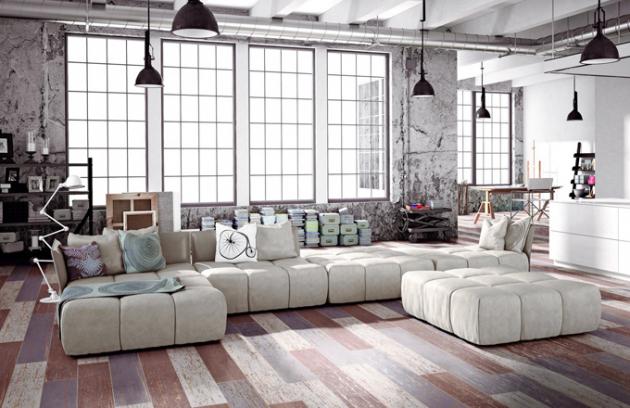 Interiér vytvořený na ryzím základě industriálního prostředí staré průmyslové budovy upravené k bydlení. Je zařízený moderním nábytkem a vhodnými stylotvornými doplňky