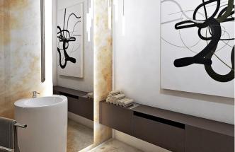 """Stěrka nepůsobí tak těžce a upjatě jako obklady, posouvá vzhled koupelny blíž k """"běžné"""" obytné místnosti a stěna díky ní zároveň lépe dýchá"""