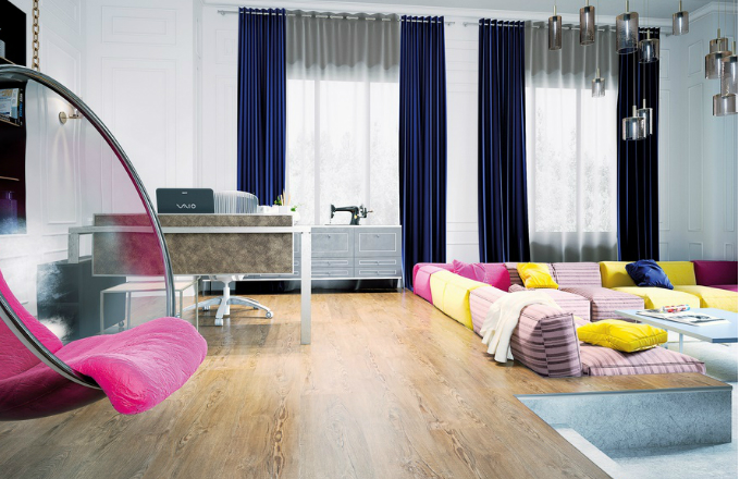 Plovoucí vinylová podlaha FatraClick složená ze tří základních vrstev, dekor Platan římský, zámkový spoj, instalace bez lepidla, Fatra, cena 945 Kč/m2, www.fatrafloor.cz