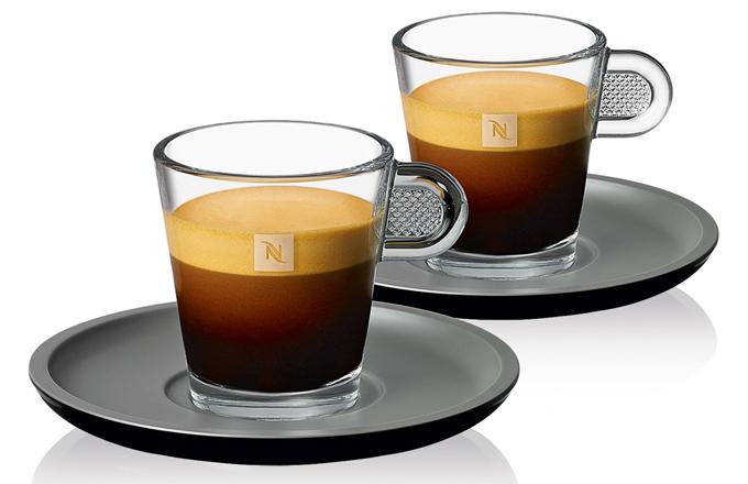 Sada dvou skleněných šálků s kameninovými podšálky View Espresso, objem 80 ml, cena 370 Kč/2 ks