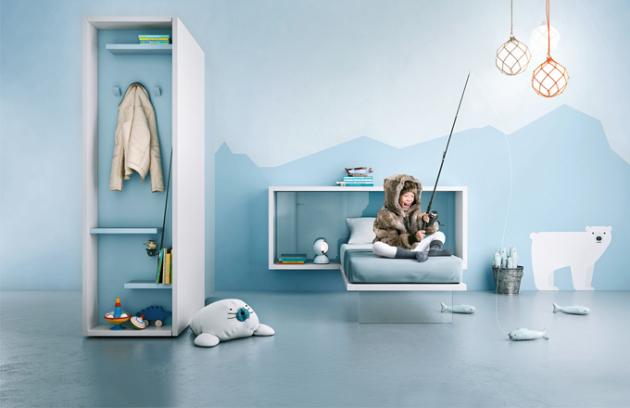 """Dětský pokoj """"pro polárníka"""" tvoří skříň Duee, postel LagoLinea a policová sestava LagoLinea, Lago, cena 259 818 Kč, www.lago.cz"""