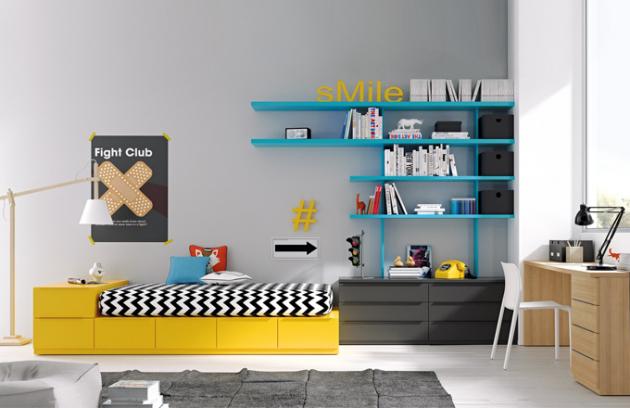 Dětský nábytek Infinity nabízí postel s velkým úložným prostorem, nástěnné úložné moduly a psací stůl. Komponenty lze kupovat jednotlivě a barvy volit podle vzorníku, JJP, cena za postel od 26 852 Kč, www.space4kids.cz