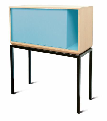 Sekretář My City s úložnými policemi, přírodní dřevěný povrch s MDF lakovanou pastelovými barvami, 102 x 40 x 120 cm, design Laurent Minguet, Miiing, cena 51 250 Kč, www.ksl-living.fr