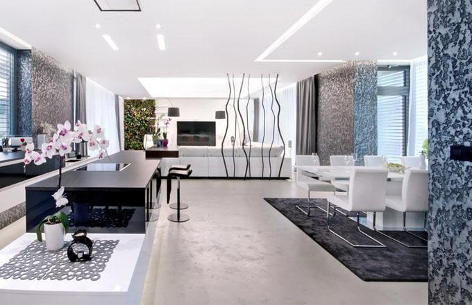 Elegantní kuchyň navazuje na obývací pokoj a jídelnu. Působí nenápadným dojmem a je z ní pěkný výhled na terasu a do zahrady. Pracovní deska je zhotovená z polystonu. K barovému pultu jsou přidány vysoké stoličky Lapalma. Prostředí zútulňuje kaskádová zahrada – zelená stěna z živých rostlin (Němec)