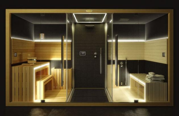 Luxusní sauna Sasha 2.0 (Jacuzzi), biosauna (nižší teplota a vyšší vlhkost), římská a finská sauna, sprcha (3 režimy) a hammam (turecká lázeň), materiál masivní dřevo, temperované sklo a corian, kompletní příslušenství, cena od 1 400 000 Kč, www.eim.cz