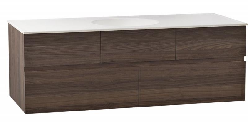 Závěsná koupelnová komoda Memoria se zapuštěným umyvadlem a keramickou deskou, ořech v povrchové úpravě mat, 120 x 42 x 51 cm, design Christophe Pillet, VitrA, cena na dotaz, www.perfecto.cz