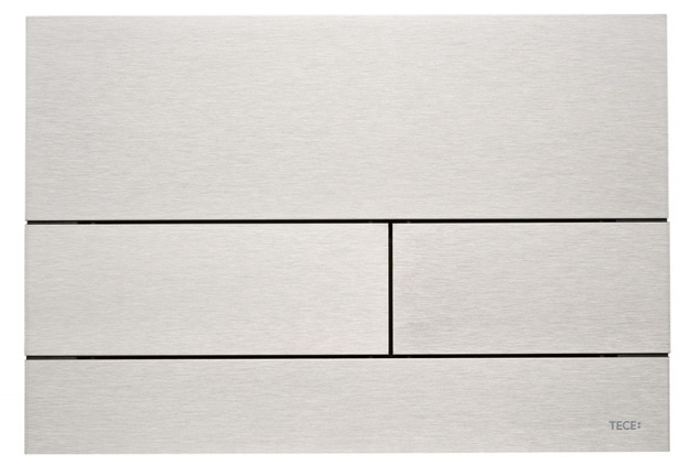 Ovládací modul Square, broušená ocel, vhodné k instalaci sady pro vhazování dezinfekčních tablet, Tece, cena 7 561 Kč, www.perfecto.cz