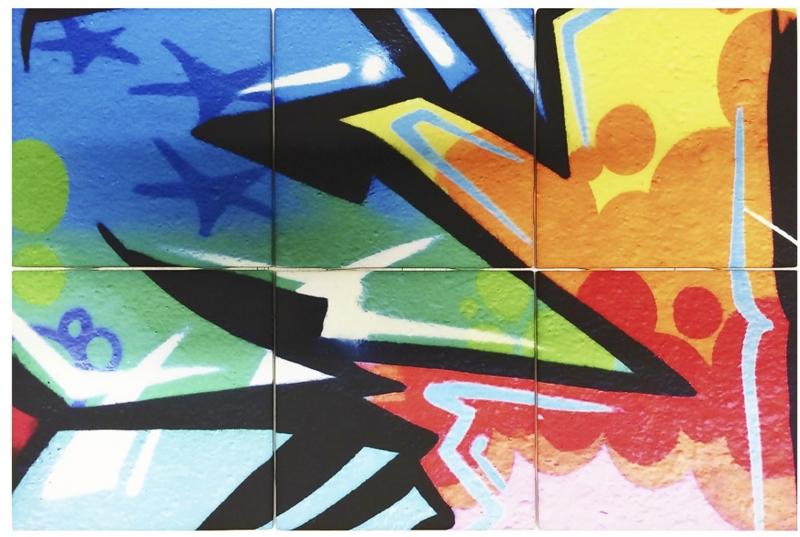Digitálně tištěné obklady z kolekce Streetart se saténovým povrchem, 10 x 10 cm, Jennoli Art, cena na dotaz, www.jennoliart.com
