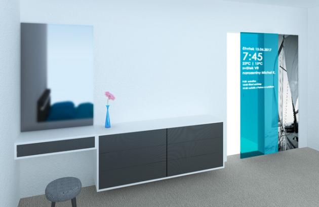 Pro svůj vítězný návrh polyfunkčních dveří využila Kristýna Ulrychová velmi atraktivní a moderní interiérový design, který propojila s novými technologiemi a novými materiálovými i konstrukčními možnostmi.
