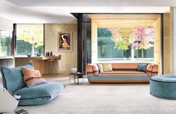 Polohovací křeslo a taburet z kolekce Copper Geranium, různé čalounění, Missoni Home, cena na dotaz, www.amara.com