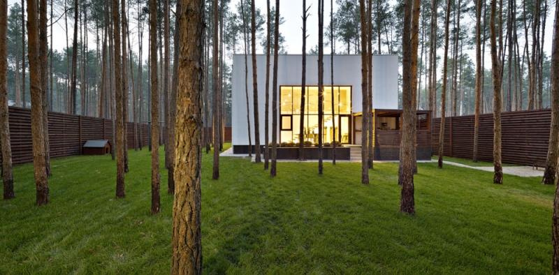 Kouzlo jednoduché a čisté architektury domu umocňují štíhlé kmeny vzrostlých borovic, které byly na pozemku zachovány a spoluvytvářejí tak jedinečný genius loci