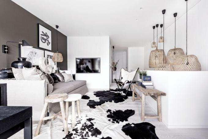 Pracovna je vybavena rozkládacím lůžkem (Flexteam) čalouněným lněnou textilií, stoličkami a lavicí ze starého jilmového dřeva a křesílkem (Butterfly) z hovězí kůže. Televizor je integrovaný do obkladu stěny koupelny