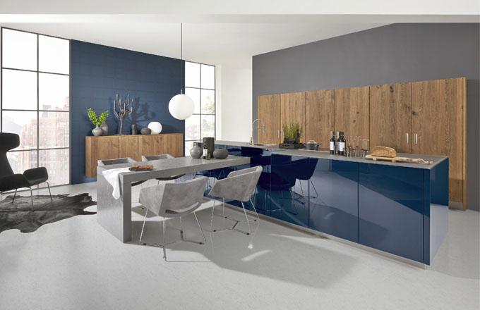 Kuchyňská sestava Nova Lack, odstín Tiefblau, dřevo, MDF vysoký lesk, Nolte, cena na dotaz, www.nolte-kuechen.de