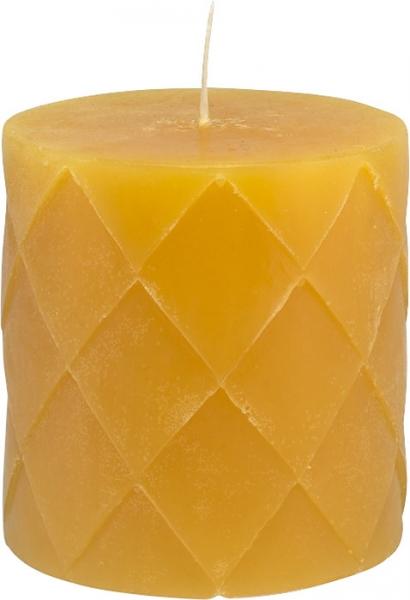 Voskové svíčky Pihlaja v oranžové a žluté barvě, 7,5 x 7,5 cm a 7,5 x 10 cm, hoří cca 75 hodin, Pentik, cena od 205 Kč