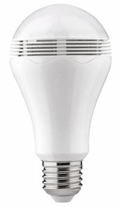 LED žárovka s reproduktorem o příkonu max. 2 W, ovládání pomocí aplikace přes Bluetooth, podporuje všechny hudební aplikace, Paulmann, cena 1 315 Kč, www.aulix.cz