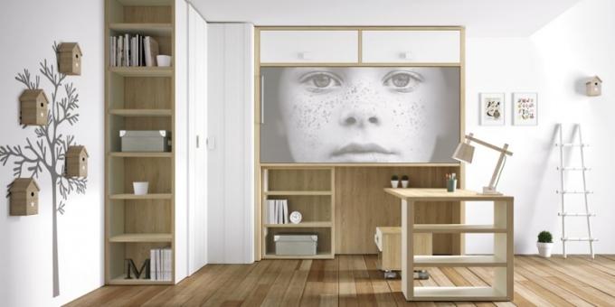 Nábytková sestava do pracovny Kodaň, vhodná také do studentského pokoje, laminát, výběr z mnoha barev, variabilní rozměry, Lagrama, cena na dotaz, www.onespace.cz