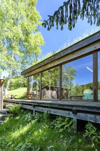 Základem přístavby je masivní dřevěná nosná konstrukce se zelenou střechou