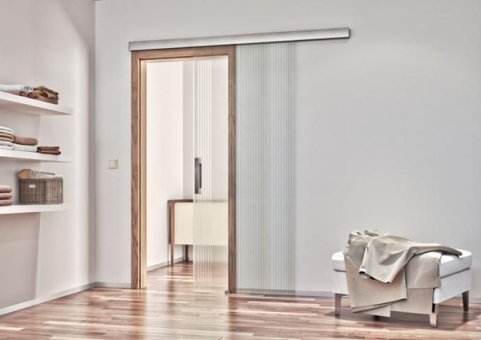 Celoskleněné dveře Sapglass s čirým sklem Masterlinea a posuvem Avanza Zero, dýhovaná zárubeň Obtus, Sapeli, cena podle výběru kování od 15 895 Kč, www.sapeli.cz