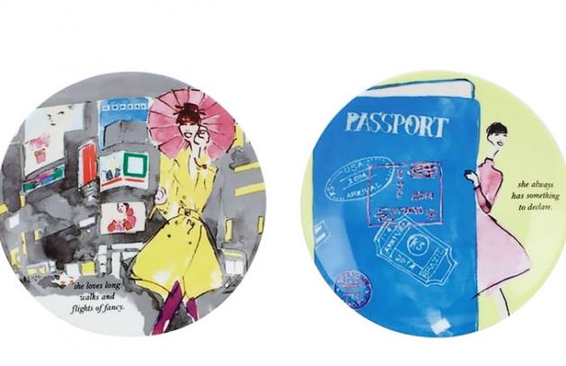 Talíře na kanapky Places to go z kolekce Kate Spade New York, porcelán, O 15 cm, Kate Spade, orientační cena 599 Kč/4 ks, www.shop.nordstrom.com