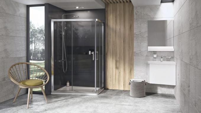 Novinkou značky Ravak je asymetrický sprchový kout 10AP4 doplňující úspěšný koncept 10° autora Kryštofa Nosála, 120 x 90 cm, cena na dotaz, www.ravak.cz