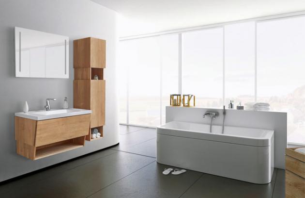 Novinkou značky Dřevojas je koupelnový bezúchytkový nábytek Arlington z řady Invence, dřevodekor, cena sestavy od 23 980 Kč, www.drevojas.cz