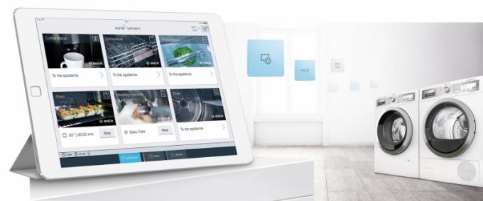 Pračka a sušička Bosch s technologií Home Connect, pračka WAW326H0EU, automatický dávkovací systém i-Dos, cena 26 990 Kč, sušička WTW855H0BY, tepelné čerpadlo, samočisticí kondenzátor, cena 24 490 Kč, www.bosch-home.cz