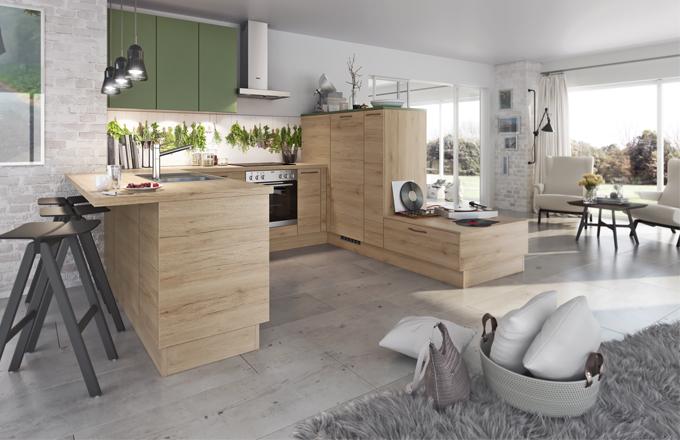 Příjemnou kombinaci dřeva se zelenou barvou tvoří sestava Virginia s dvířky Savana značky Livanza, www.oresi.cz