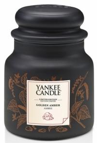 Golden Amber z exkluzivní kolekce Gold, orientální tóny hřejivé vanilky a ambry s dřevitým nádechem, Yankee Candle, cena od 599 Kč, www.yankeesvicky.cz
