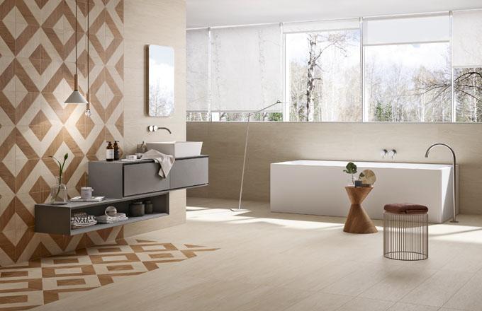 Přirozený vzhled dřeva sjemnými letorosty aněkolik geometrických dekorů představila značka Panaria vkolekci Chic Wood, www.panaria.net