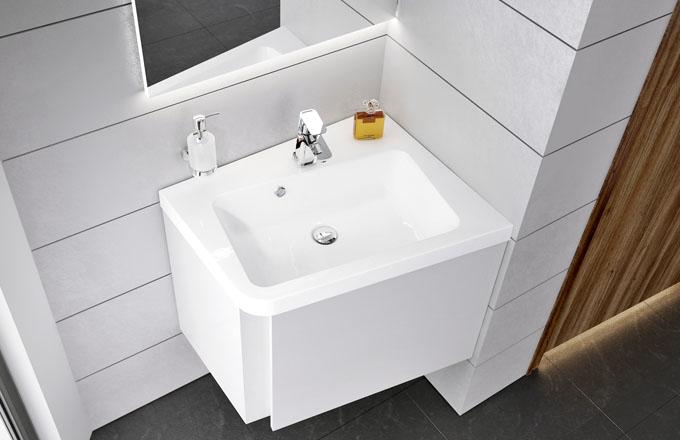 Umyvadlo z řady 10° poskytuje u rohové verze díky pootočení mnohem větší uživatelský komfort, cena od 5 590 Kč, www.ravak.cz