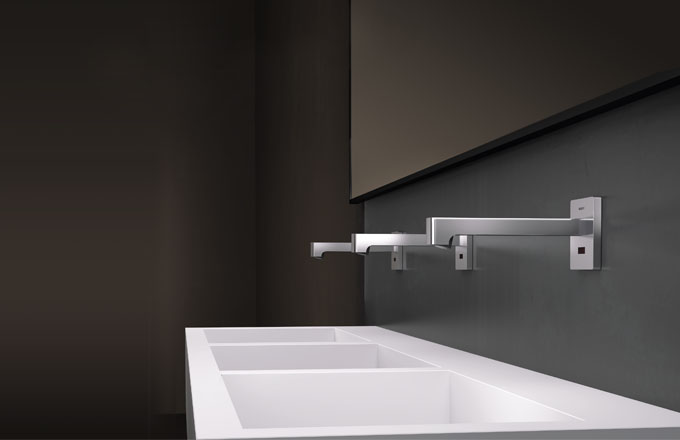 Elektronické podomítkové baterie Geberit, dokonale hygienické mytí, součástí systému jsou prvky určené pro montáž do lehkých příček prováděných suchým procesem (Duofix), cena od 13 112 Kč, www.geberit.cz